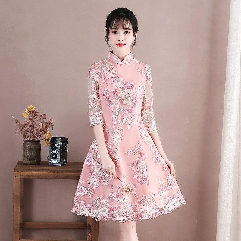 Lady classique fait à la main bouton Cheongsam femmes élégantes Vintage broderie fleur Qipao rose demoiselle d'honneur robe de mariée robes