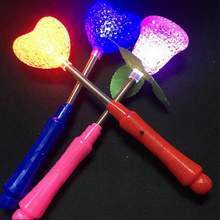 12 Pcs Creative LED Glow Star Wand Mixed Rose Heart Shaped Stick Flashing Light Concert Party toys(China)