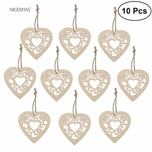 Wooden Hollow Flower Hearts With String For Decorations Wood Craft Wooden Wedding Party Home Decoration Supplies