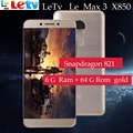 Оригинальный Letv LeEco ram 6G rom 64G le Max3 X850 FDD 4G мобильный телефон 5,7 дюймов Snapdragon 821 2560x1440 сравнить с mi Phone