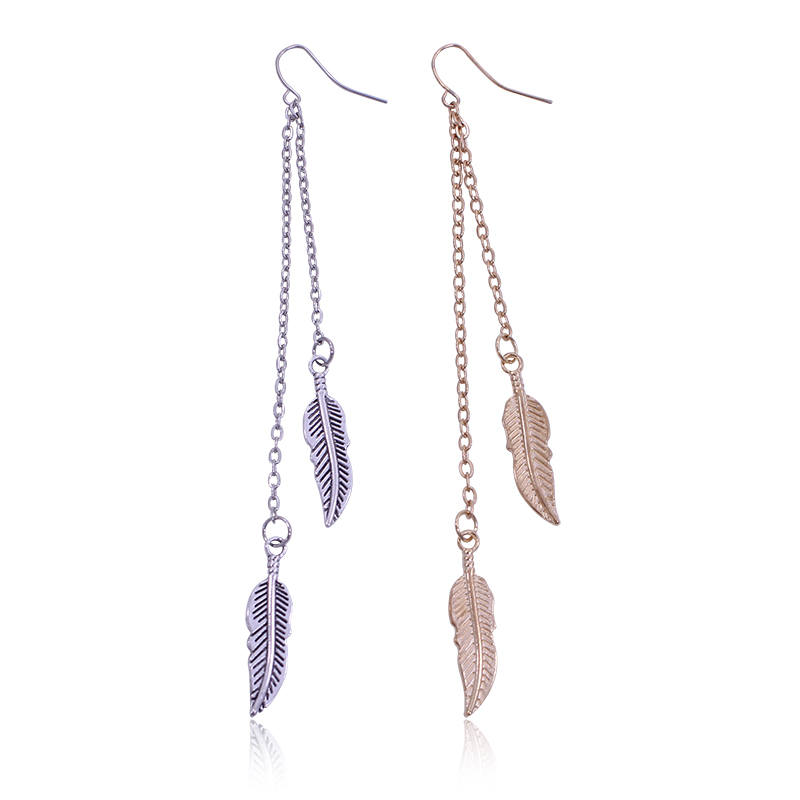 Popular Metal Feather Earrings-Buy Cheap Metal Feather ...