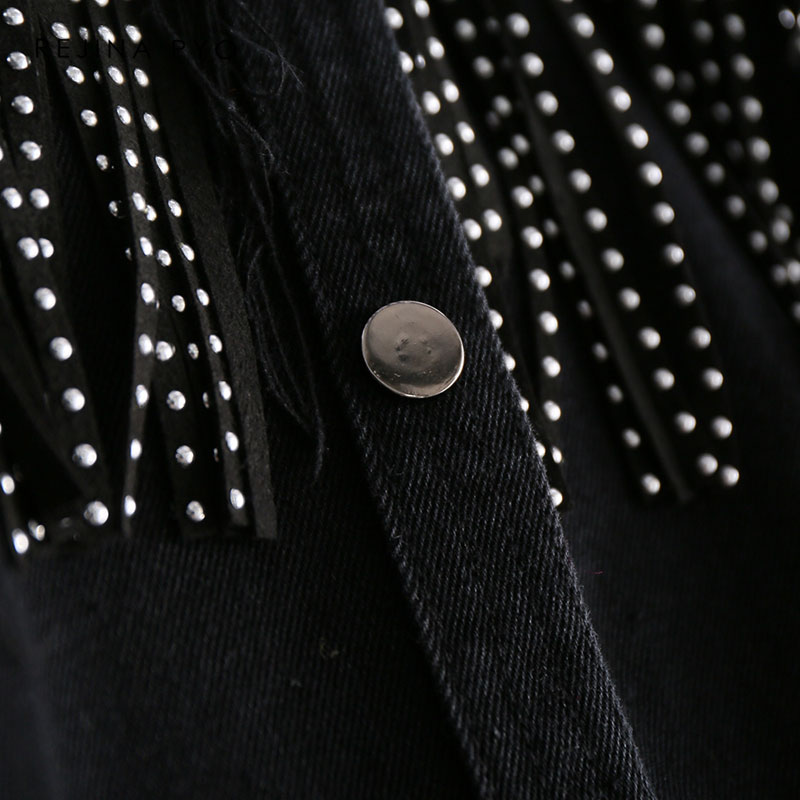 REJINAPYO Women Black High Quality Loose Denim Jacket Coat Sequined Tassels Streetwear All match Mental Covered REJINAPYO Women Black High Quality Loose Denim Jacket Coat Sequined Tassels Streetwear All-match Mental Covered Button Outerwear