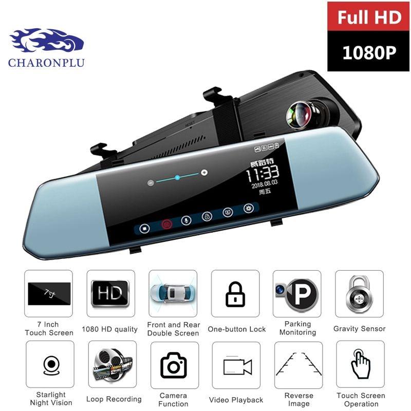 Caméra de tableau de bord CHARONPLU DVR caméra de bord double caméra de tableau de bord caméra de bord rétroviseur 4 k/gps/Con Vision caméra de recul nocturne Full HD 1080 P