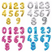 16 inch Figure Digit Number Foil Balloons Birthday Party Wedding Dec Gold Silver Pink Blue Inflatable Helium Gas Balloon(China)
