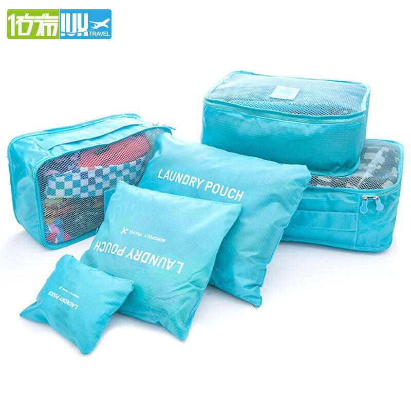 2017 6 pcs/ensemble Hommes et Femmes Bagages Voyage Sacs Emballage Cubes Organisateur De Mode Double Fermeture Éclair Étanche Polyester Sac En Gros
