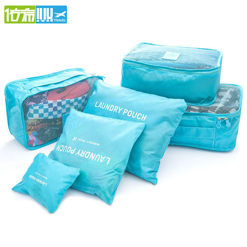 IUX 2018 6pcs/set Men and Women Luggage Travel Bags Packing Cubes Organizer Fashion Double Zipper Waterproof Polyester Bag