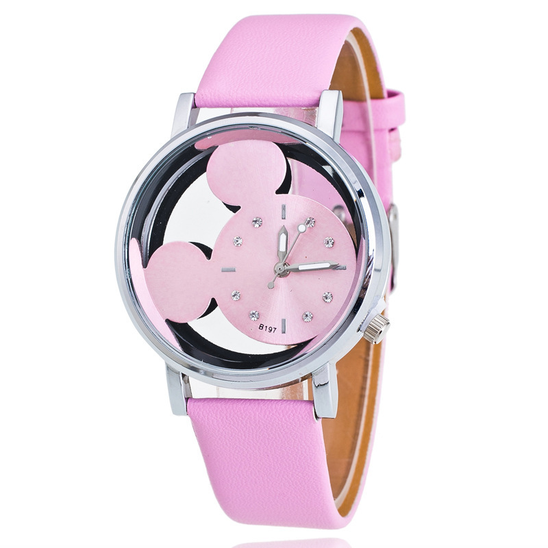 Mickey Mouse Watches With Double-sided Hollow Children's Watch For Student Boys Girl Cartoon Disney Animated Image