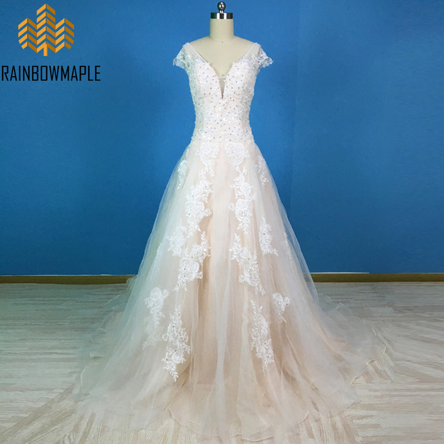 Fashionable V Neck A Line Bridal Dresses Champagne Beaded Lace ...