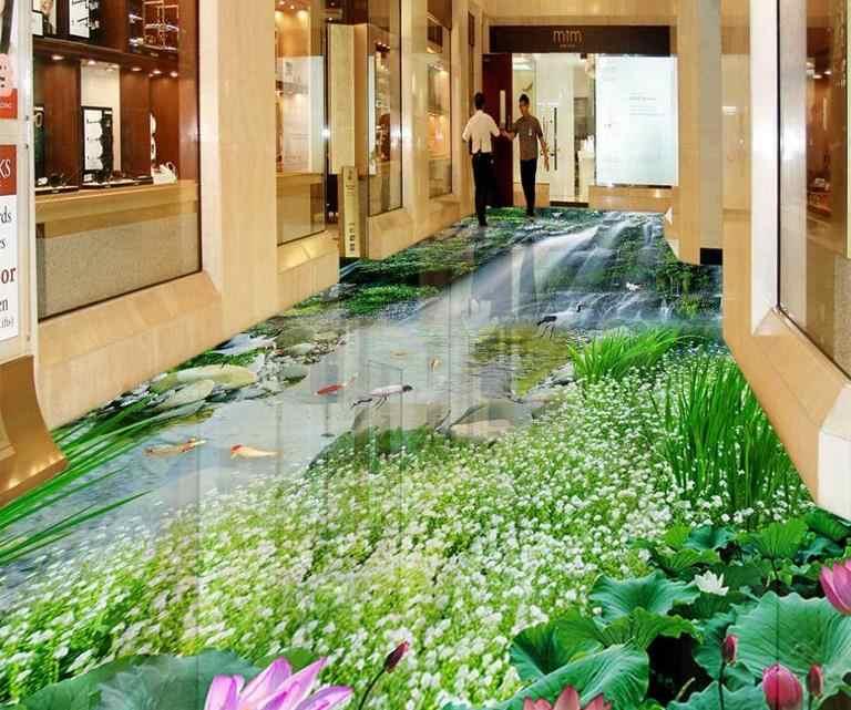 3D Lantai Ruang Tamu 3D Wallpaper Air Terjun Lotus Ikan Mas Tahan Air Diri Perekat Vinyl 3D Wallpaper Lantai