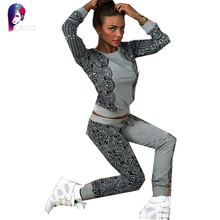 Rugod 2016 Autumn 2 piece set women's' Fashion print top and pant Hoodies	two piece set women suits Tracksuit  moleton feminina