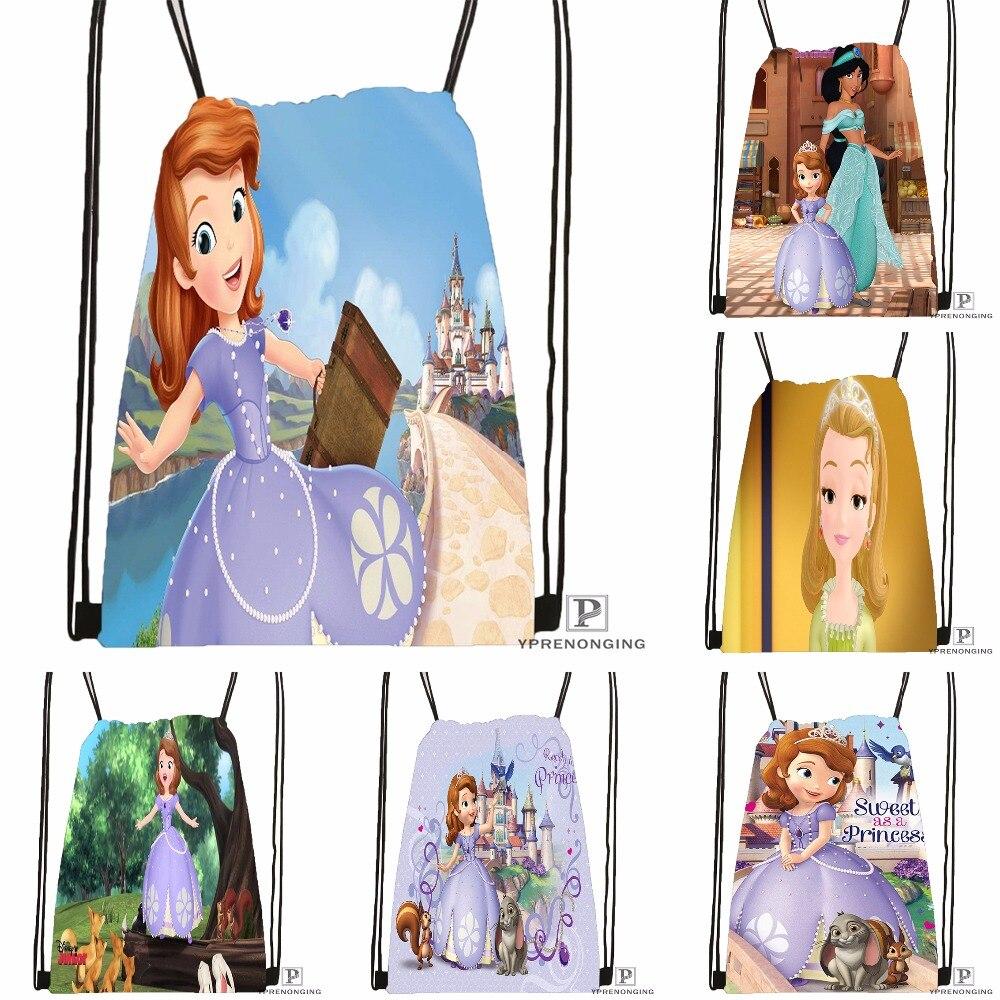 Custom Princess Sofia Drawstring Backpack Bag For Man Woman Cute Daypack Kids Satchel (Black Back) 31x40cm#180531-01-30