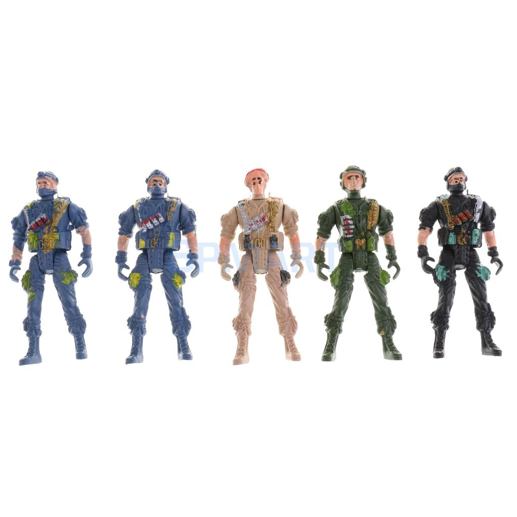 5pcs Plastic Military Playset Toy 9cm Paratroopers with Parachute Soldier Action Figures Kids Toy