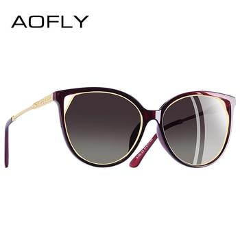 AOFLY BRAND DESIGN Cat Eye Sunglasses Women's Polarized Fashion Sun Glasses For Women Rhinestone Temple Goggles UV400 A104