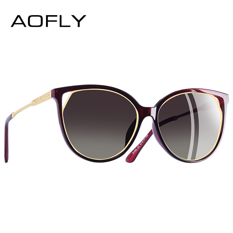 AOFLY BRAND DESIGN Fashion Sunglasses 2018 Polarized Cat Eye Sun Glasses For Women Rhinestone Temple UV400 A104