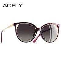 AOFLY BRAND DESIGN Fashion Sunglasses 2018 Polarized Cat Eye Sun Glasses For Women Rhinestone Temple UV400