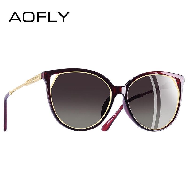 AOFLY MARKE DESIGN Cat Eye Sonnenbrille frauen Polarisierte Mode Sonnenbrille Für Frauen Strass Tempel Brille UV400 A104