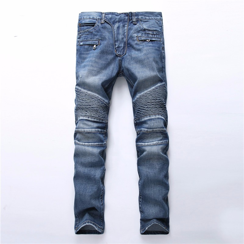 2017 Men Skinny Jeans Men Runway Slim Racer Biker Jeans Strech Hiphop Jeans For Men mens skinny biker jeans runway distressed slim elastic jeans hiphop washed men a circle of zipper and side pleated black jeans