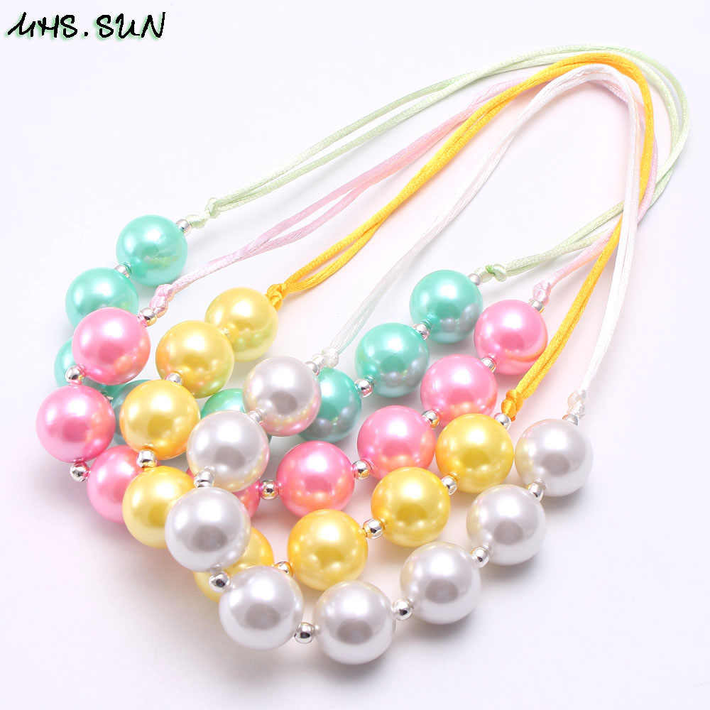 MHS.SUN Fashion Design Girls Pearl Chunky Beads Necklace Kids Child Chunky Bubblegum Necklace Adjustable Rope Jewelry