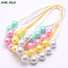 MHS.SUN Fashion Design Girls Pearl Chunky Beads Necklace Kids Child Chunky Bubblegum Necklace Adjustable Rope Jewelry(China)
