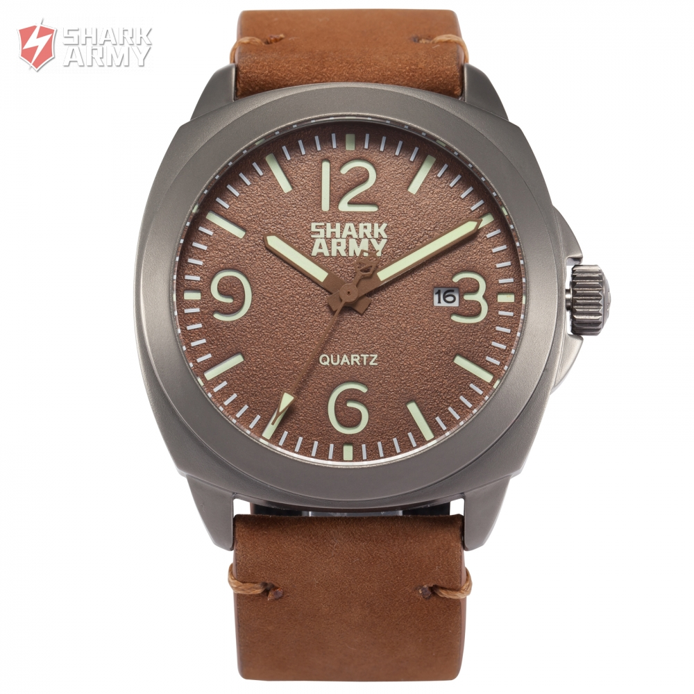 font b SHARK b font ARMY Brand 100m Water Resistant Date Luminous Hands Full Stainless