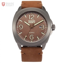 SHARK ARMY Brand 100m Water Resistant Date Luminous Hands Full Stainless Steel Brown Leather Band Sport Mens Quartz Watch/SAW186