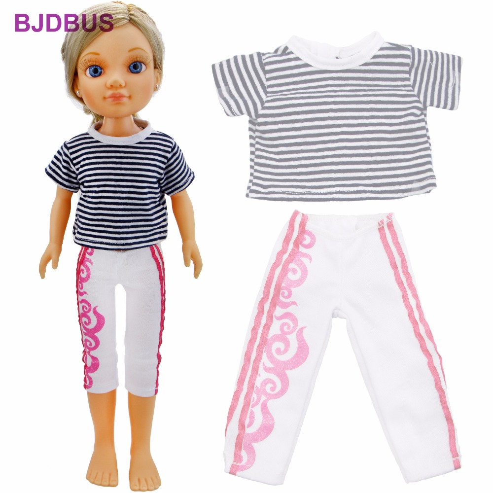 High Quality Outfit Classic Black White Stripe Shirt Sport Casual Pants Leggings Clothes For Nancy Doll 16'' Accessories Gifts high quality elastic leather bottoms pants trousers for barbie doll clothes fashion outfit for 1 6 bjd dolls accessories