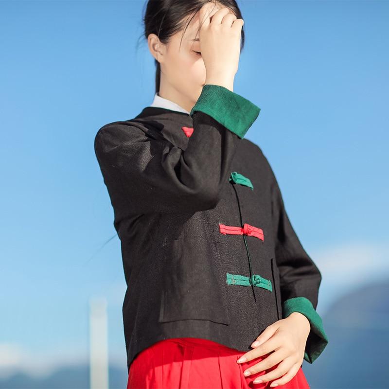 Automne Manches Style De Noir Veste D'origine Longues vert Chinois Femmes Coton Lin Ethnique rouge Manteau Court Nouvelle Hit Couture Couleur À Sq4rxwtZS