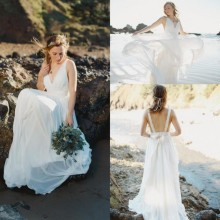 BOHO Beach Wedding Dress with V Neck & Spaghetti Straps