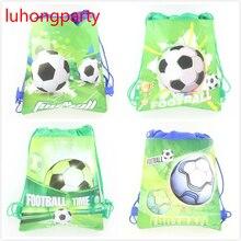 12pcs non-woven bags football boy cartoon fabrics drawstring backpack,schoolbag,shopping bag