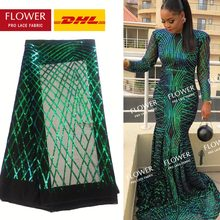 Green Sequins Lace Fabric 2018 High Quality African Evening Dress Fabrics New Nigeria Sequined Embroidered Mesh Net Lace Fabric(China)