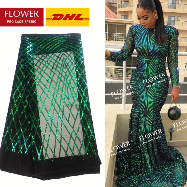 e6db90c14 Green Sequins Lace Fabric 2018 High Quality African Evening Dress Fabrics  New Nigeria Sequined Embroidered Mesh Net Lace Fabric