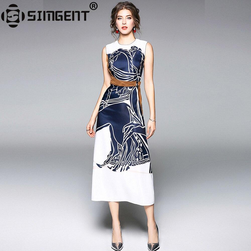 brand new 50822 1321f Simgent Ärmelloses Kleid Frauen Neue High-End A Line Print Patchwork Damen  Dünne Lange Sommerkleider Weibliche Mode Vestido SG8135