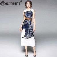 Simgent Sleeveless Dress Women New High End A Line Print Patchwork Ladies Slim Long Summer Dresses Female Fashion Vestido SG8135