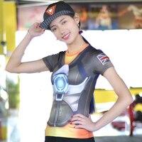 Ow歌ハンナdva衣装tシャツ見守るtシャツカジュアルトレーサー女性ヒーローdvaウィドウメーカー慈悲cos tシャツ服