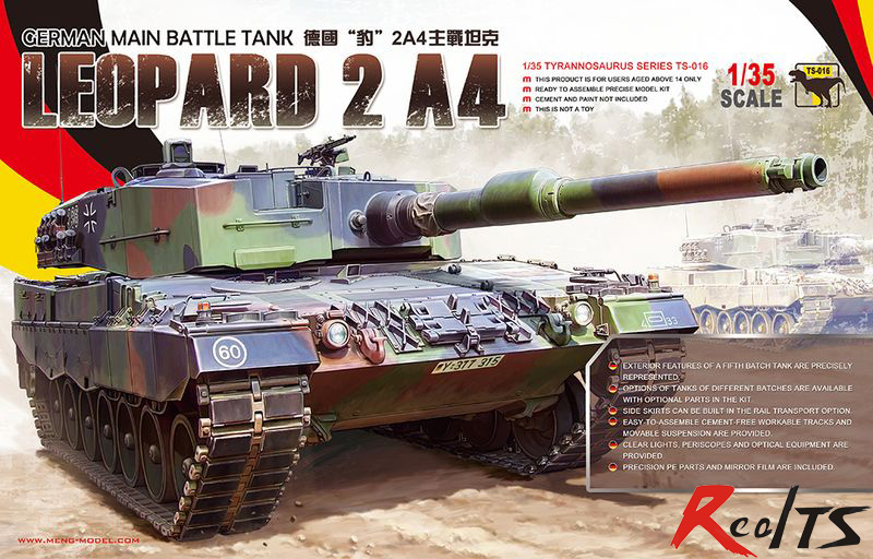 RealTS Meng model TS-016 1/35 GERMAN MAIN BATTLE TANK LEOPARD 2 A4 plastic model kit realts meng model 1 35 ts 014 t 90 russian main battle tank w tbs 86 tank dozer instock