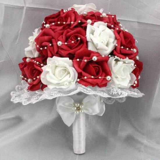 Горячие Продажи Красные и Белые Розы Цветы Искусственный Жемчуг Кружева Стороны Свадебный Свадебный Букет
