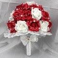 Venta caliente Rojo y Rosa Blanca Flores Laterales de Encaje de Perlas Artificiales Ramo de Novia de La Boda