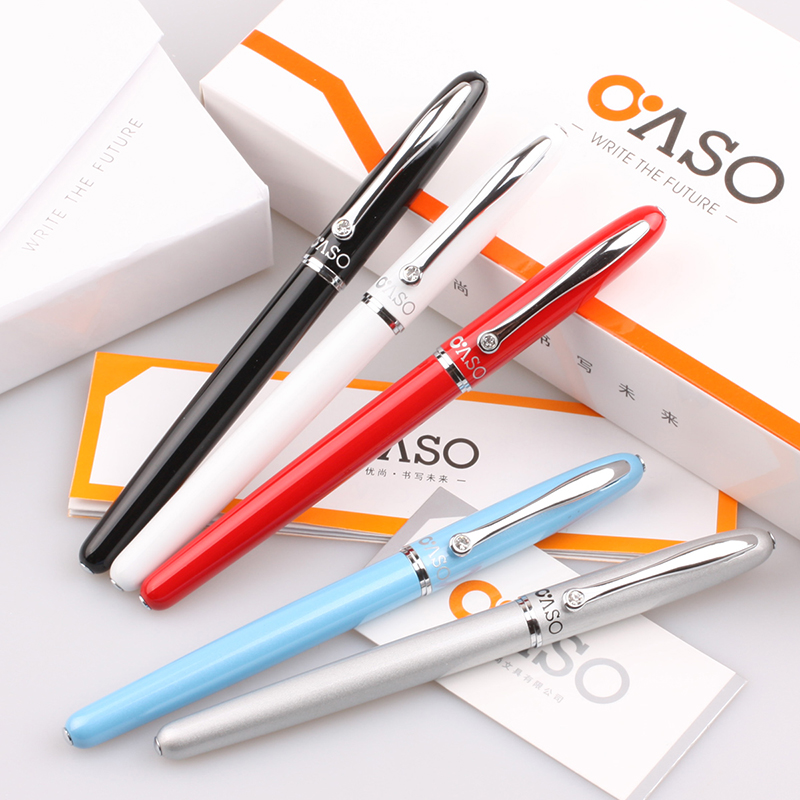 OASO A16 Luxury Metal Fountain Pen nib 0.38mm White Black Red Blue Silvery for Writing Supplies with Gift Box Free Shipping italic nib art fountain pen arabic calligraphy black pen line width 1 1mm to 3 0mm
