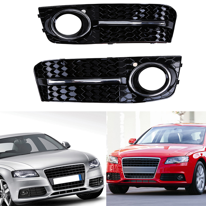 2Pcs Left & Right Black ABS Car Front Bumper Lower Grill Fog Light Grille Cover Case Fit for Audi A4/B8 2007-2011 Pre-facelift2Pcs Left & Right Black ABS Car Front Bumper Lower Grill Fog Light Grille Cover Case Fit for Audi A4/B8 2007-2011 Pre-facelift