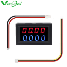 Digital DC 200V 0-10A Voltmeter Ammeter Red Blue LED Dual Display 5 Wires Car Voltage Current Monitor No Need External Shunt 0 28 led dual display digital current voltmeter shunt black 50a 75mv