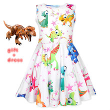 2019New hot Summer Girls Clothing Girl Dress Ju Luo Century Children Kids Dinosaur Dress  Girls Kids Vest dress Children Clothes basik kids vest hooded gray melange kids clothes children clothing