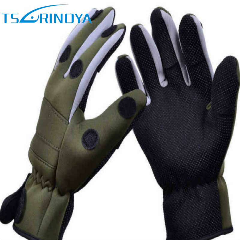 TSURINOYA Breathable Army Green Full Finger Neoprene Fishing Gloves L XL Non-slip Waterproof Breathable Winter Fishing Tackle