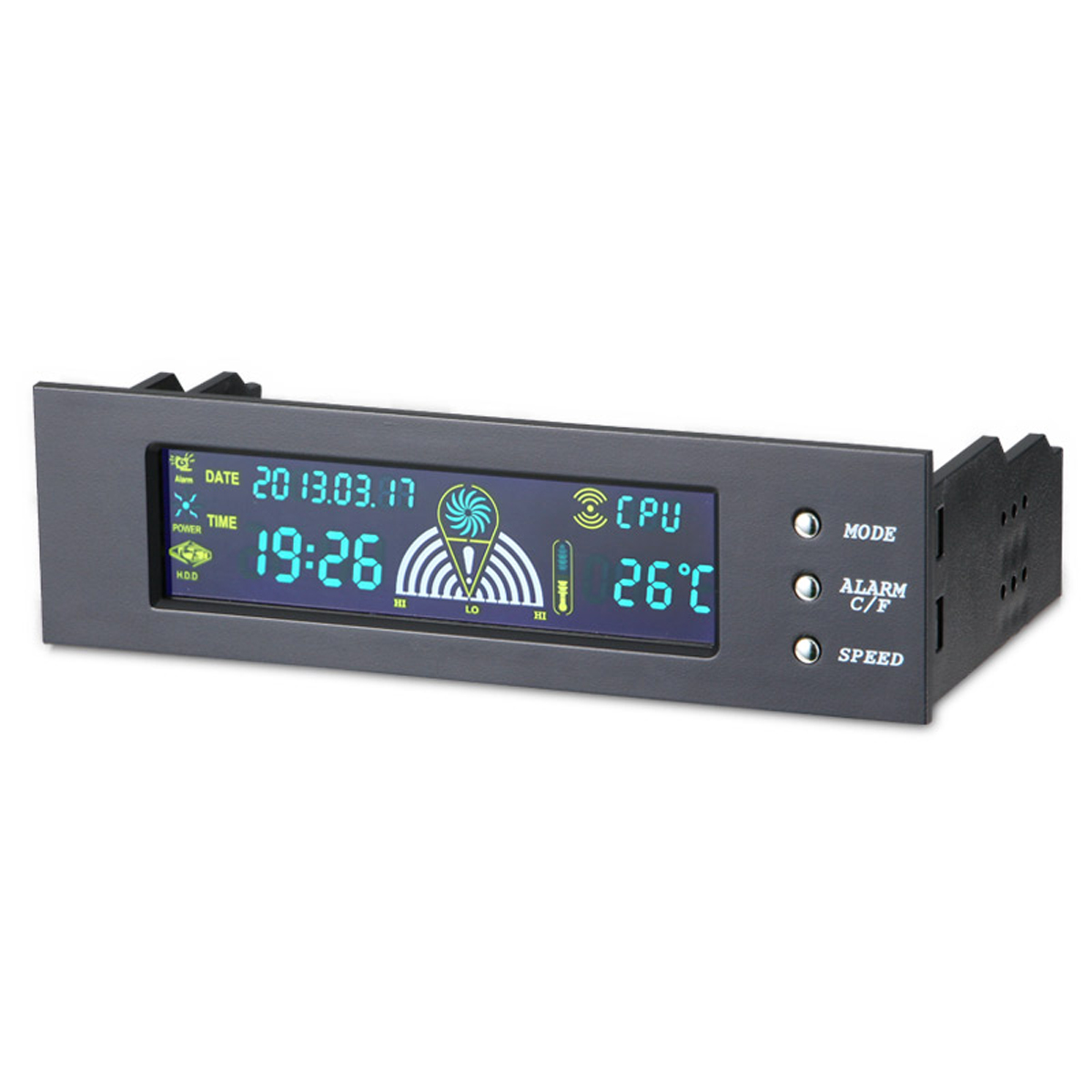 5.25 Inch Bay Front LCD Panel 3 Fan Speed Controller CPU Temperature Sensor LCD Digital Display Front Panel For PC Computer