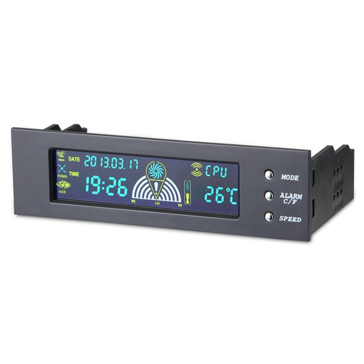 Panel LCD frontal de la Bahía de 5,25 pulgadas 3 controlador de velocidad del ventilador CPU Sensor de temperatura LCD Panel frontal de la pantalla Digital para PC