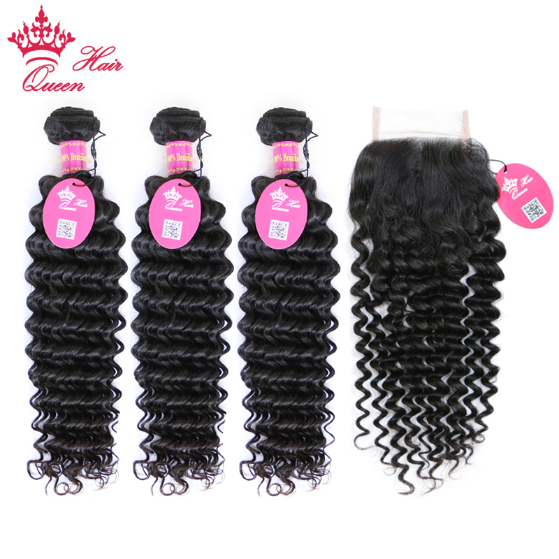 Queen Hair Products 3pcs Brazilian Deep Wave Human Hair Bundles With Lace Closure Middle/ Free Part Virgin Hair Natural Color