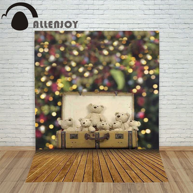 Allenjoy christmas photography backdrop Wooden luggage Bears toys blur children's photocall photo photographic Customize goki wooden traditional toys clock bears mini bead frames floating ball press and shake figures top with pull out string
