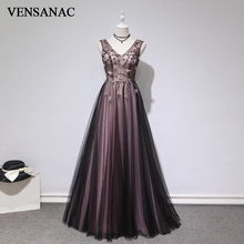 VENSANAC 2018 A Line V Neck Lace Flowers Appliques Long Evening Dresses Elegant Party Beading Tulle Backless Prom Gowns