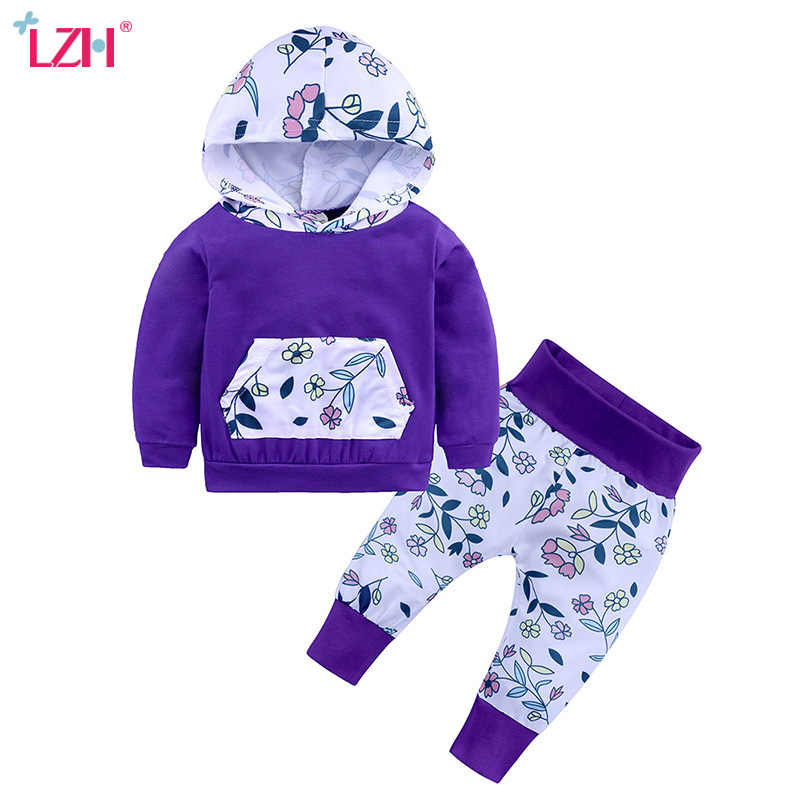 LZH Newborn Baby Girls Clothes 2018 Autumn Winter Baby Boys Clothes Set Hoodie+Pants 2pcs Outfits Kids Baby Suit Infant Clothing summer 2017 leopard baby girl clothes newborn infant baby girls romper bodysuit headband 2pcs outfits toddler kids clothing set