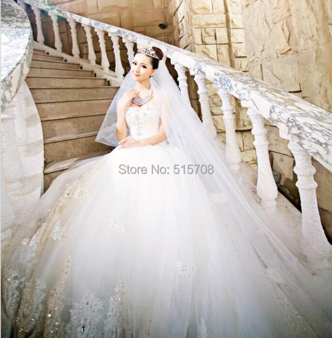 Gorgeous Big Royal Cathedral Train Wedding Dress Sleeveless Tulle ...