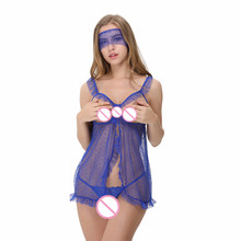 1d13501017 Flyaway Open Bust Lingerie Lace Transparent Nighty Plus Size Babydoll  Sleepwear Mysterious Pajamas With Eye Lace Mask